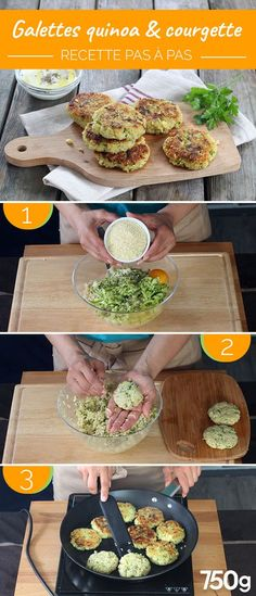 Quinoa and zucchini patties - Cuisine - Healthy recipes easy Vegan Zucchini Recipes, Veggie Recipes, Baby Food Recipes, Vegetarian Recipes, Healthy Zucchini, Zucchini Quinoa, Zucchini Boats, Healthy Meal Prep, Easy Healthy Recipes