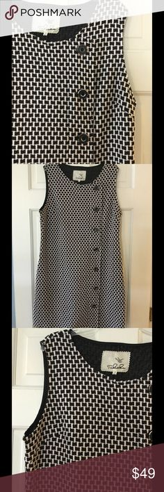 "Anthro Tabitha houndstooth dress Side zip entry. Cotton/polyester/spandex. Machine wash and dry.  Underarm across 19"". Length 35"".  Excellent condition. EUC. Anthropologie Dresses"