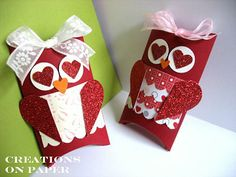 valentine owl pillow boxes - could use green and shamrocks for st pats.
