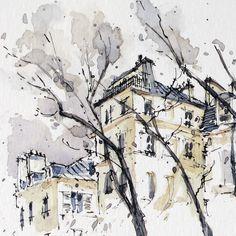 sketching in Paris. Urban Sketchers, Contemporary Paintings, Drawing Tips, Art And Architecture, Watercolor Art, Paris, Hunters, Sketchbooks, Drawings