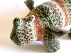 Lambswool Rhinoceros Rhinoceros, Safari Animals, Talbots, Knitted Hats, Upcycle, Scrap, Knitting, Toys, Cotton