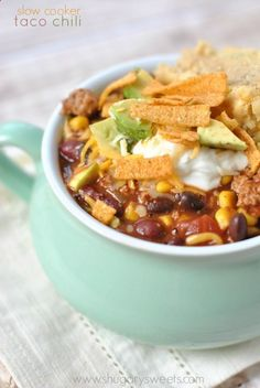 This Slow Cooker Taco Chili recipe is fun to make and packed full of flavor! #CrockPot #SlowCooker #recipe #chili