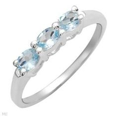 Ladies .925 Sterling Silver Genuine Sky Blue Topaz Ring