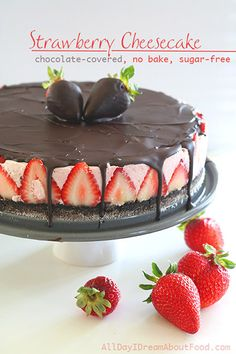 No Bake Chocolate Strawberry Cheesecake Recipe: almond flour, cocoa powder, swerve, butter, strawberries, gelatin, whipping cream, vanilla, cream cheese, stevia, and unsweetened chocolate. ❝Sweets❞