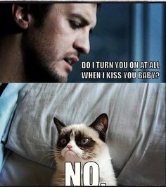 Hahaha....but really...even grumpy cat could not say no to that! My two favourite things! Luke Bryan and cats, especially grumpy cat <3
