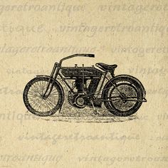 Large printable vintage motorcycle digital graphic from retro artwork for fabric transfers, printing, t-shirts, pillows, tote bags, papercrafts, and much more. This antique motorcycle illustration graphic is large and high quality, size 8½ x 11 inches. Need a larger size? This image can be upsized to any nearly size without quality loss. Transparent background version included free. Vector version available. Stock up and save  Save up to 50% on your order, see ...