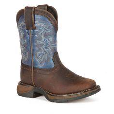 Lil Durango Boys' Full Grain Saddle Western Boots, Boy's, Size: 2.5, Blue