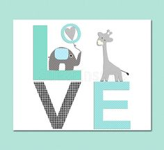 aqua and grey and teal love nursery Art Print 8x10 by SugarInspire, $14.95