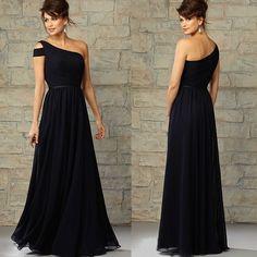 Um ombro preto elegante Chiffon longo da dama de honra vestido sem mangas Zipper voltar personalizado…