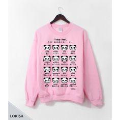 Japanese Panda Emoticon Crewneck Sweatshirt- Sweetheart Pink ($44) ❤ liked on Polyvore featuring tops, hoodies, sweatshirts, crew neck tops, crewneck sweatshirt, sweatshirts hoodies, pink sweat shirt and pink crewneck sweatshirt