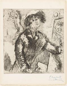 Marc Chagall (French, Vitebsk 1887–1985 Saint-Paul-de-Vence)   Self-Portrait with Easel