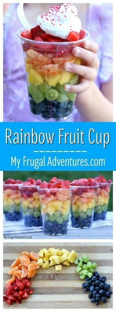 Colorful rainbow fruit cups