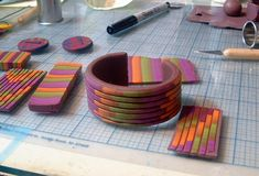 Here is my take on the Bargello Bead exercise from Polymer Clay Color…