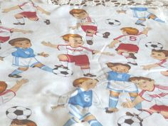 Children Playing Soccer Fabric van GilliansStitches op Etsy