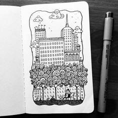 Dave Garbot — The City Park #illustration #drawing #penandink...