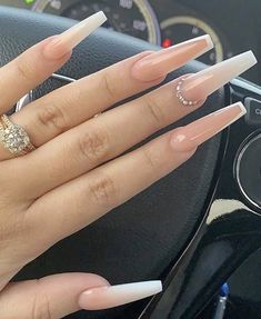 In look for some nail designs and ideas for your nails? Here is our set of must-try coffin acrylic nails for trendy women. Coffin Nails Ombre, Bling Acrylic Nails, Acrylic Nails Coffin Short, Simple Acrylic Nails, Coffin Shape Nails, Best Acrylic Nails, Rhinestone Nails, Acrylic Nail Designs For Summer, Colored Acrylic Nails