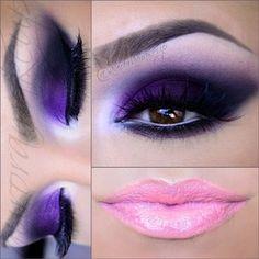Eye Makeup Tips.Smokey Eye Makeup Tips - For a Catchy and Impressive Look Purple Smokey Eye, Purple Eye Makeup, Dark Skin Makeup, Purple Eyeshadow, Cute Makeup, Gorgeous Makeup, Makeup Art, Beauty Makeup, Hair Makeup