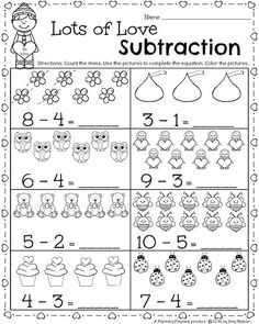 Kindergarten Math and Literacy Printables – February Kindergarten Worksheets for February – Valentine's Day theme Subtraction Math Activity. Kindergarten Addition Worksheets, Subtraction Kindergarten, Subtraction Activities, Literacy Worksheets, Preschool Math, Worksheets For Kids, Kindergarten Activities, Teaching Math, Teaching Addition