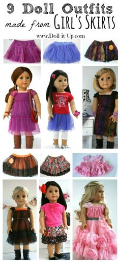 Ideas for those skirts your kids have outgrown. 9 different doll outfits each made from a girl's skirt!