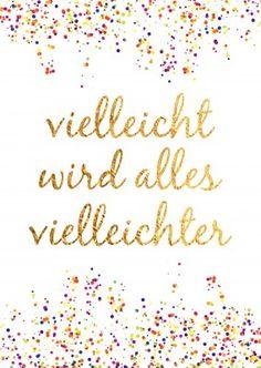 Konfetti mit goldener Kalligrafie auf weissem Hintergrund