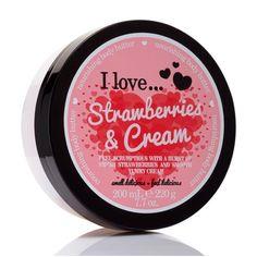 I Love Cosmetics Body Butter Strawberries & Cream 200 ml Body Cream Cosmetics And Toiletries, Strawberry Milkshake, Kevin Murphy, Body Love, Strawberries And Cream, Body Butter, Body Lotion, Beauty Care, Nyx