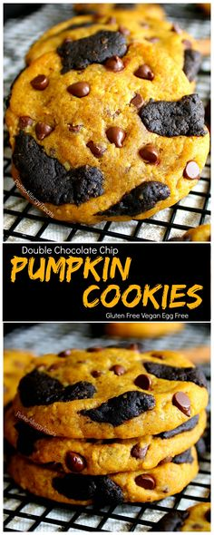 Vegan Gluten Free Pumpkin Chocolate Chip Cookies Recipe ( egg free dairy free) Double chocolate chip pumpkin filled cookies with warm pumpkin spice. Food Allergy friendly.