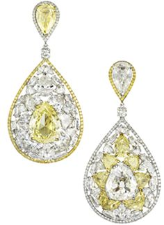 18k gold, canary & white diamond earrings