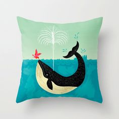 "The Bird and The Whale - illustrated Cushion Cover / Throw Pillow (16"" x 16"") by Oliver Lake by iotaillustration on Etsy"