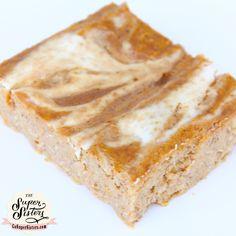Pumpkin Cheesecake Swirl Protein Bars ~ NEW recipe at www.GoSuperSystem.com