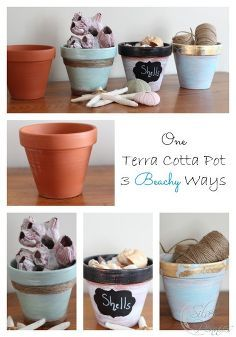 one terra cotta pot three beachy ways, chalkboard paint, crafts, home decor, painting, Acrylic paint twine and gold leaf turn these terra cotta pots from basic to beachy