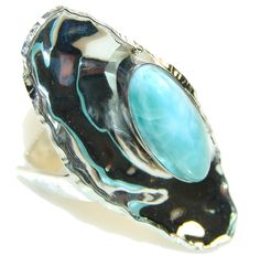 $92.50 Fashion Design!! Blue Larimar Sterling Silver Ring s. 7 - Adjustable at www.SilverRushStyle.com #ring #handmade #jewelry #silver #larimar