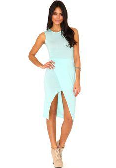 Herrisa Front Split Midi Dress In Mint