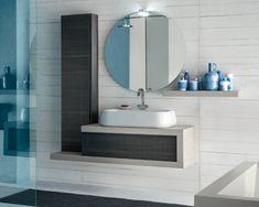 Secondo bagno ~ Mobile bagno sospeso in rovere castoro con elementi a vista tulle
