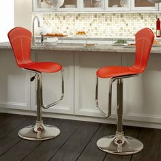 CorLiving - Tapered Full Back Adjustable Bar Stool in Red Leatherette, set of 2 - - Home Depot Canada Red Bar Stools, Metal Bar Stools, Swivel Bar Stools, Kitchen Stools, Counter Stools, Red Kitchen, Dining Room Pool Table, Contemporary Bar Stools, Adjustable Bar Stools