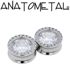 "1"" Super Gemmed Eyelets in stainless steel; princess-cut cubic zirconia (outer setting), cubic zirconia (center) gems"