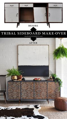 Mid Century Modern Tribal Buffet Before & After