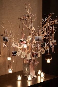 I also think it'd be great as a graduation table in school colors and school pictures from every year hanging from the tree Anniversary Decorations, 50th Wedding Anniversary, Anniversary Parties, Wedding Decorations, Wedding Images, Wedding Designs, Rustic Wedding, Our Wedding, Branch Decor