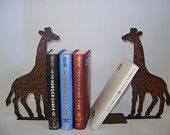 Pair of Giraffe Book ends, Metal Giraffes, Pair of Metal Art Giraffe Book ends