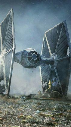 ☀Drodher☀ Caza imperial,  Star war.  Poderosa aun en deshuesadero. Luke Skywalker, Tie Fighter, Sci Fi Ships, Darth Vader, Star Wars, Stars, R2 D2, Rebel, Verses