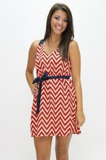 Everly Bold Moves Chevron Dress in Auburn (Game Day)