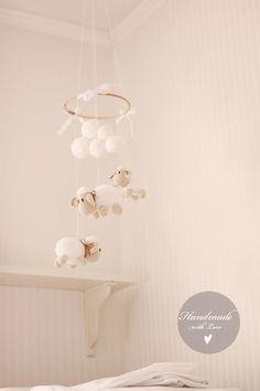 Sheep baby mobile ~ finished product.  Crochet ideas.