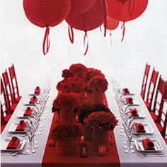 Ruby red table runner idea for mom & dads 40th anniversary party