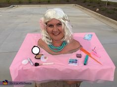 Leisa: This is me, Leisa Hodges, wearing my homemade Barbie makeup head costume. I used a foam board, plastic tablecloth and items from the dollar store to bring this retro toy. Halloween Costume Contest, Family Halloween Costumes, Barbie Makeup Head, Costume Works, Plastic Tablecloth, Haunted Mansion, Retro Toys, Costumes For Women, Ghosts
