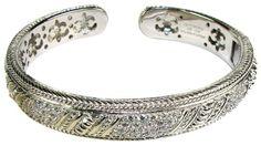 Diamonique & Textured Hinged Cuff Bracelet