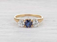 One Carat Edwardian Diamond & Sapphire Three Stone Vintage Engagement Ring Circa 1910 Vintage Engagement Rings, Sapphire Rings, Diamond Rings, Gold Rings, Jewelry Rings, Jewlery, Three Stone Rings, Flower Earrings