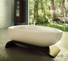 Bathroom, Drop Dead Gorgeous White Bathtub Placed In The Open Room Beautified With Natural Forest Background: Bathroom Interior Supported by Various Bathtub Products