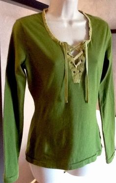PRANA Top T Shirt Organic Cotton Green Velvet Trim Lace Up Long Sleeve Sz S  #Prana #Tunic #Casual