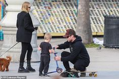 Pregnant Lara Bingle watches on as Sam Worthington skateboards with sons Rocket and Racer in LA Lara Bingle, Lara Worthington, Family Days Out, Skateboards, Sons, Watches, History, Couple Photos, Mail Online