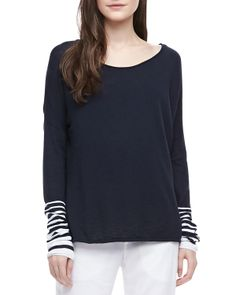 Vince - Striped-Sleeve Slub Top