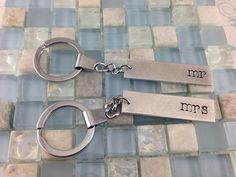 Matching Hand Stamped bar keychains  his and by StampedbyDesign, $25.00